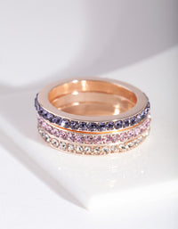 Rose Gold Mixed Diamante Ring Stack - link has visual effect only