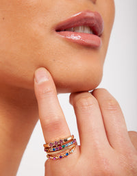 Gold Diamante Rainbow Ring Stack - link has visual effect only
