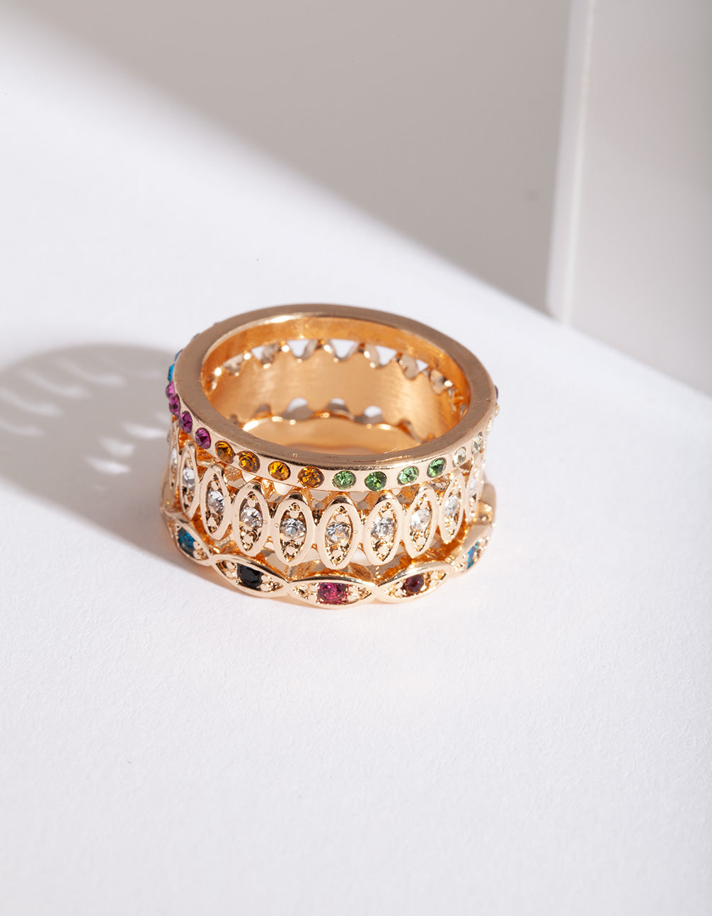 Gold Rainbow Multi Ring Pack
