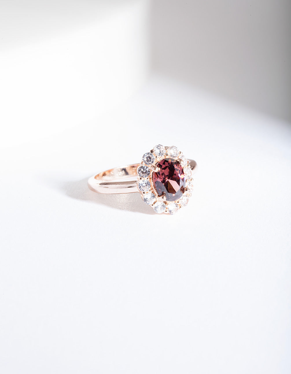 Rose Gold Pink Stone Engagement Ring