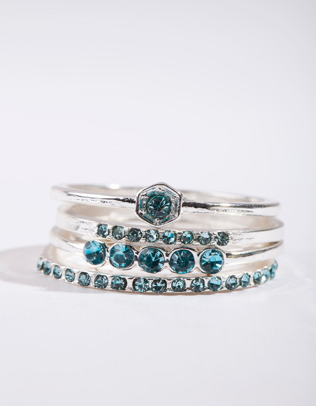 Silver Fine Blue Gem Ring Stack