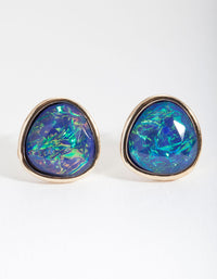 Green Gold Swirling Stone Stud Earring - link has visual effect only