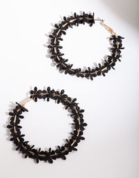 Black Gold Crochet Flower Hoop Earring