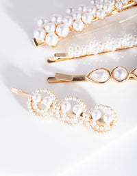Gold Smile Pearl Hair Clip Pack
