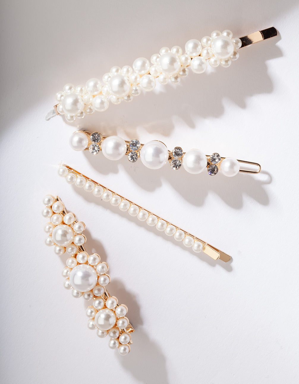 Gold Multi Pearl Diamante Hair Clip Pack
