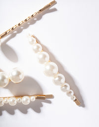 Gold Multi Pearl Pin 4 Pack