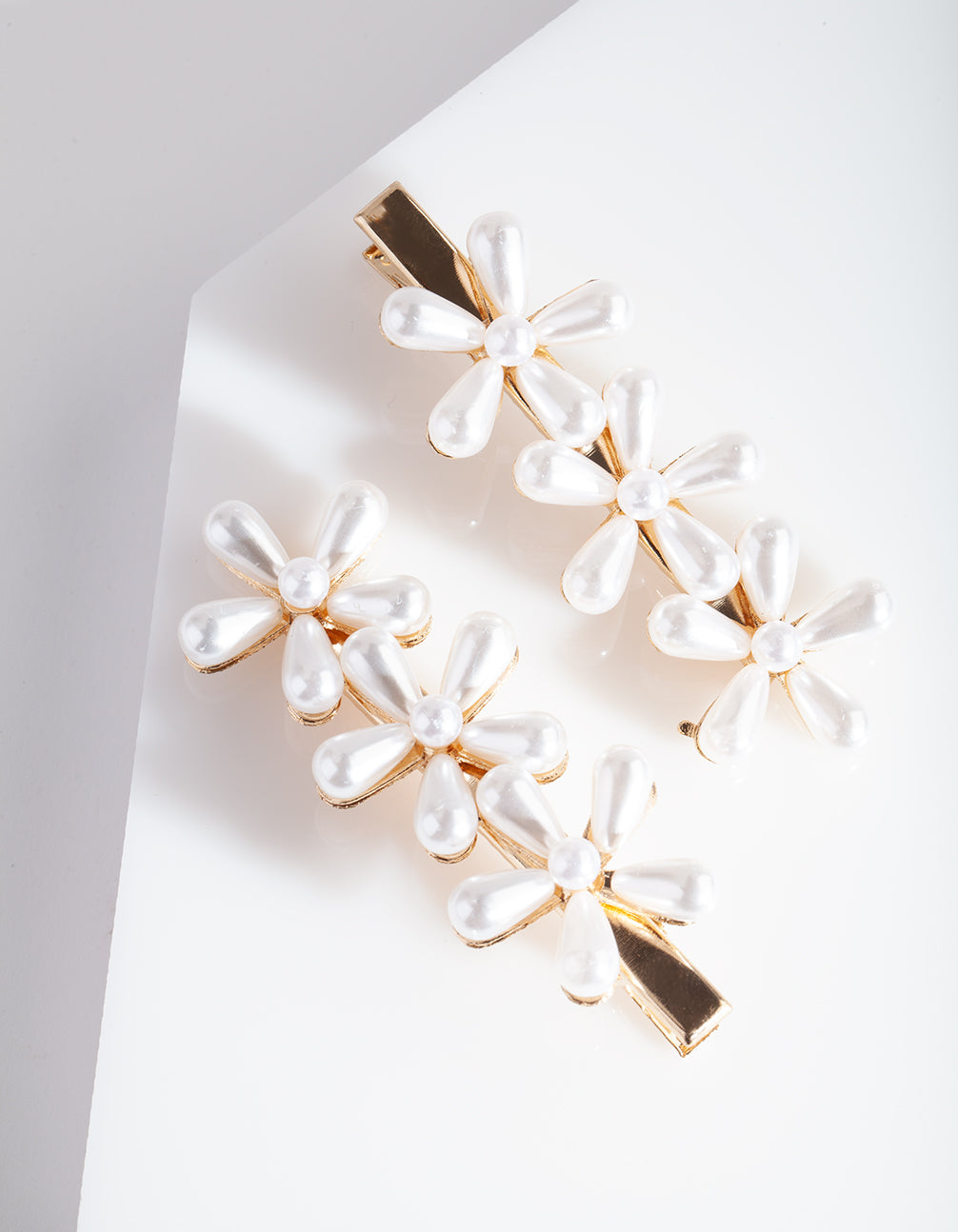 Gold Pearl Flower Hair Clip Pack
