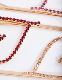 Gold Pink Red Diamante Heart Clip Pack - link has visual effect only
