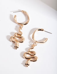 Gold Snake Mini Hoop Earring - link has visual effect only