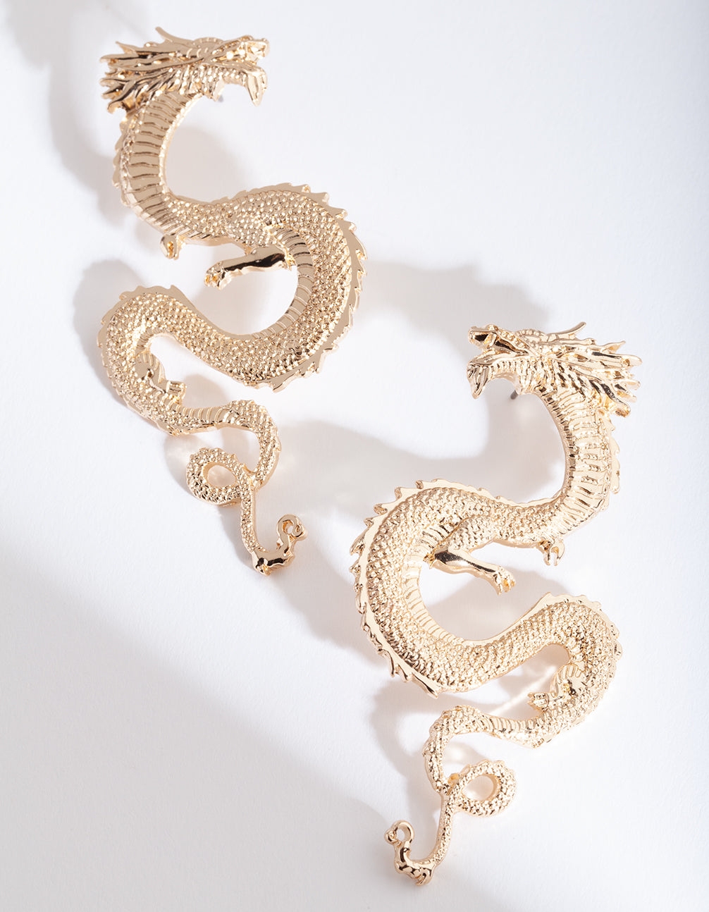 Gold Large Swirl Dragon Earrings