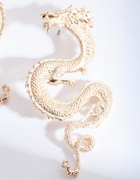 Gold Large Swirl Dragon Earrings - link has visual effect only