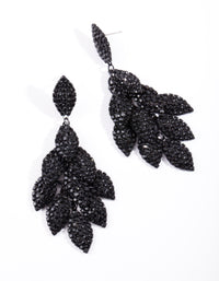 Black Coated Metal Diamante Leaf Earring - link has visual effect only