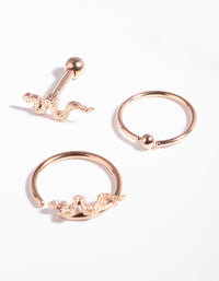 Surgical Steel Rose Gold Snake Earring Pack - link has visual effect only