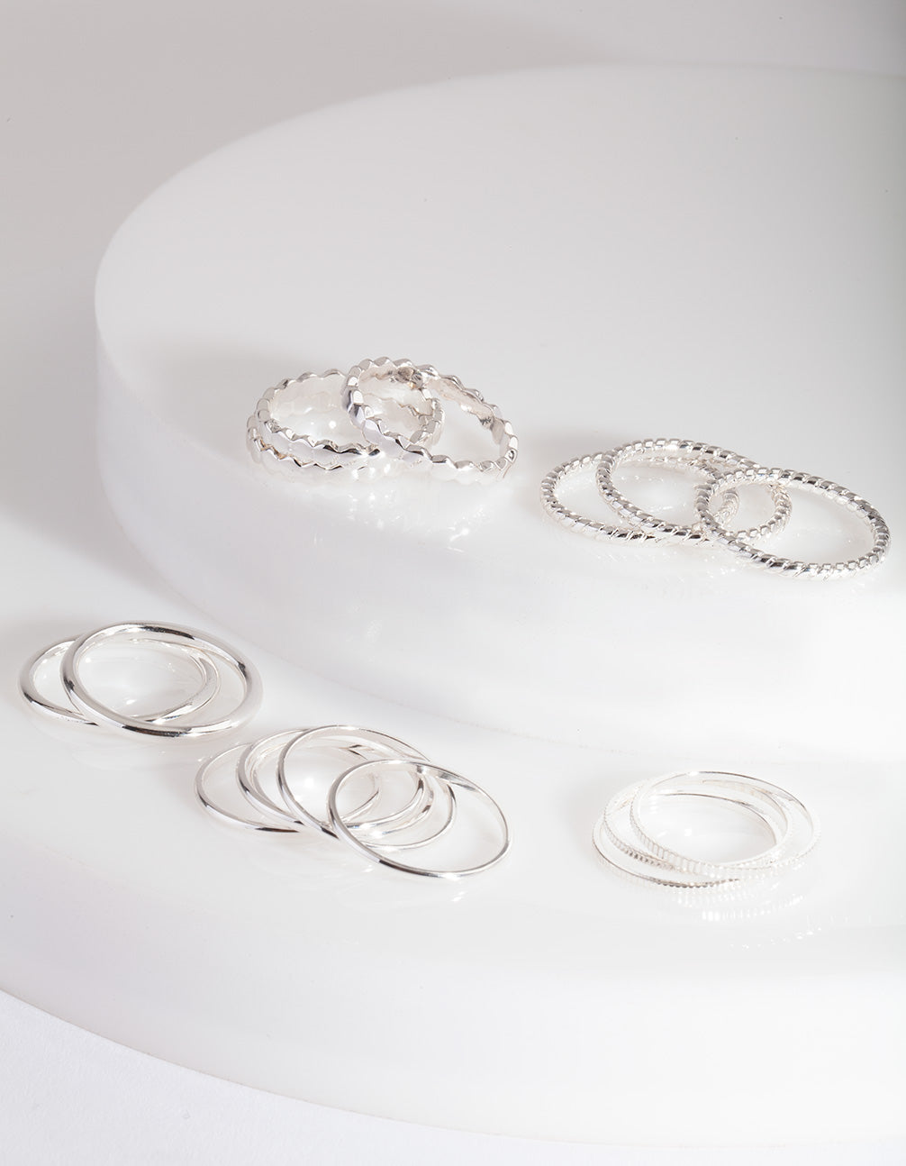 Silver Textured Stack Ring Pack