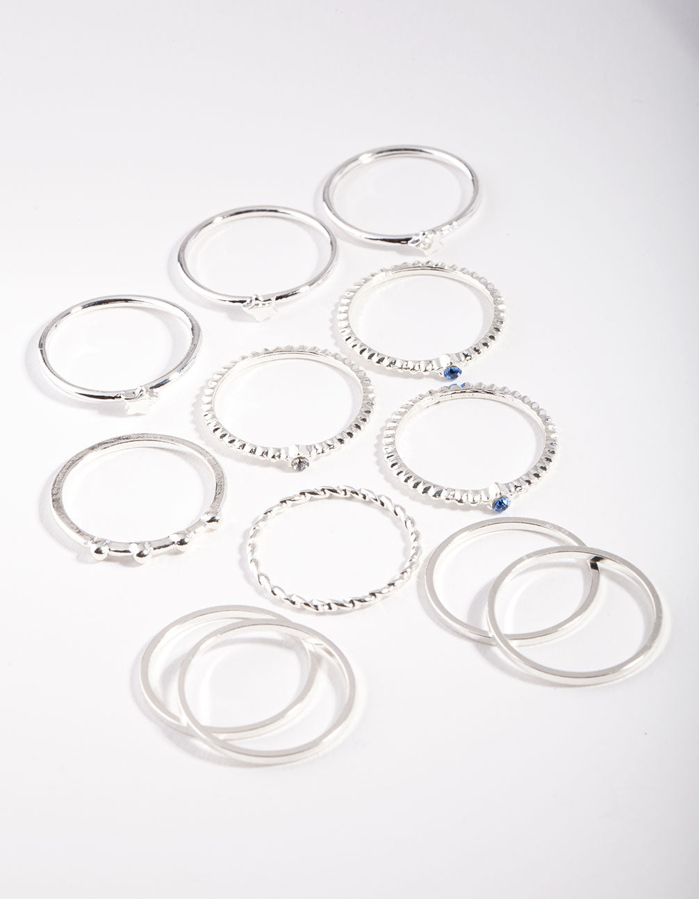 Silver Blue Gem Layered Ring Pack