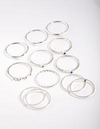 Silver Blue Gem Layered Ring Pack - link has visual effect only