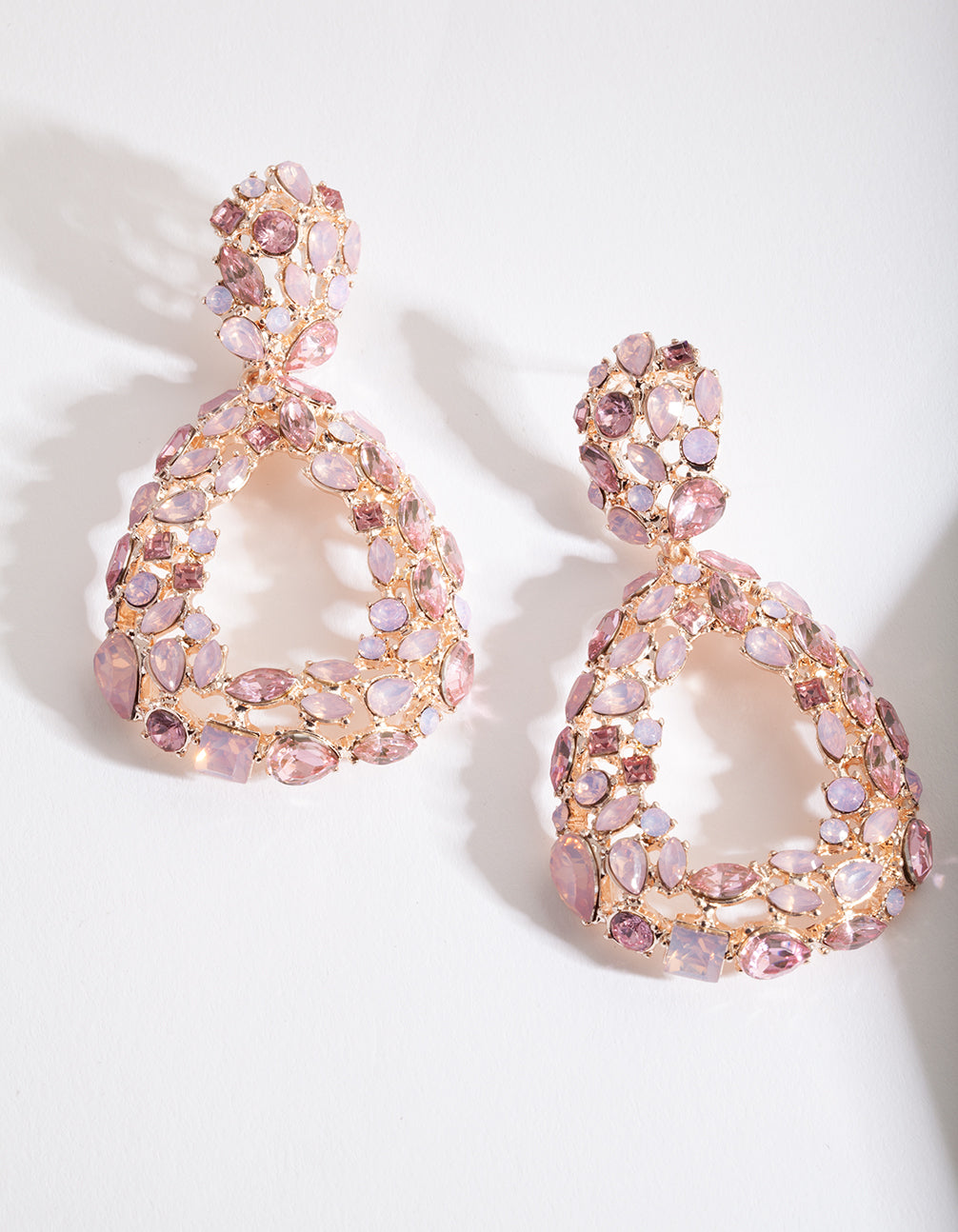Rose Gold Pink Gem Teardrop Earrings