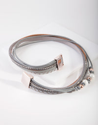 Rose Gold Faux Leather Flower Wrap Bracelet - link has visual effect only