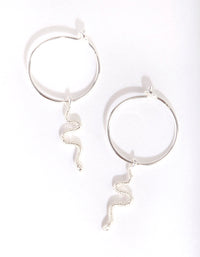 Sterling Silver Snake Hoop Earring - link has visual effect only