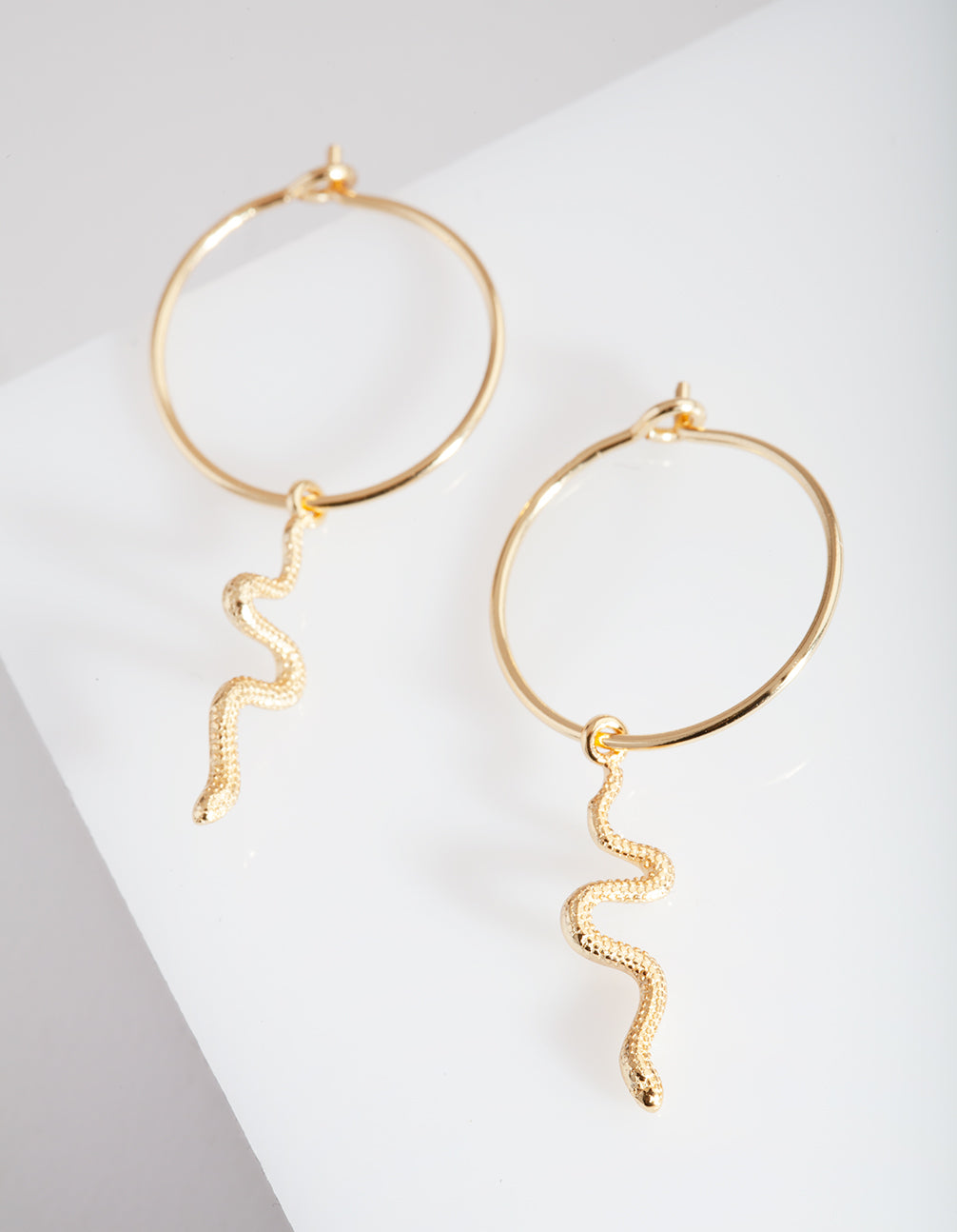 Gold Plated Sterling Silver Snake Hoop Earring