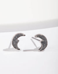 Silver Glitter Moon Stud Earring - link has visual effect only