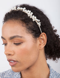 Silver Scattered Pearl Headband - link has visual effect only