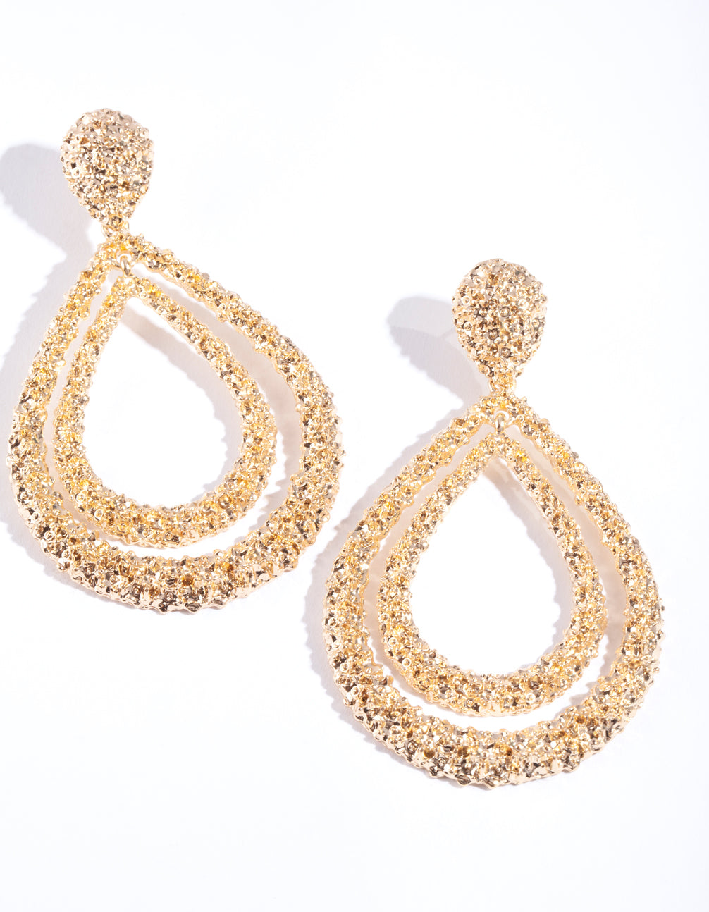 Gold Crater Textured DoubleTear Drop Earring