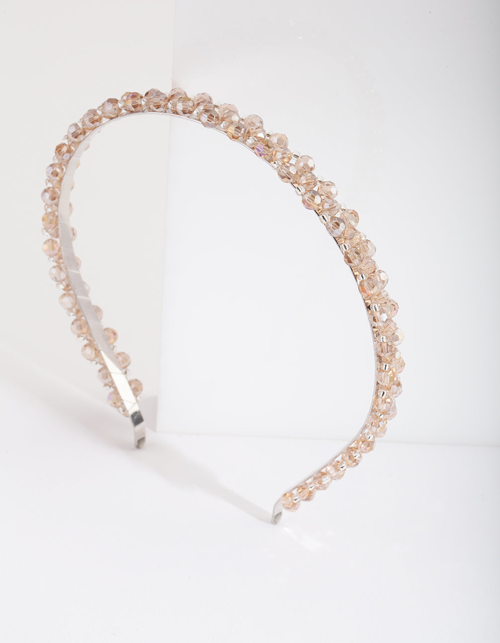 Silver Neutral Glass Bead Headband