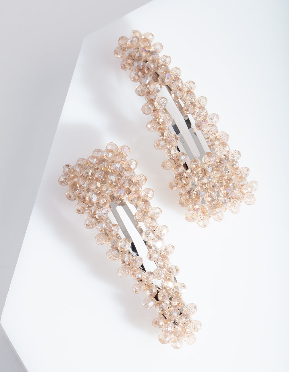 Rhodium Neutral Glass Bead Hair Clip Duo