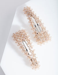 Rhodium Neutral Glass Bead Hair Clip Duo - link has visual effect only