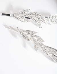 Silver Double Leaf Diamante Clip Pack