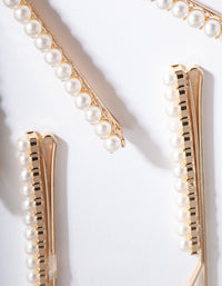 Gold Pearl Hair Pin 6 Pack