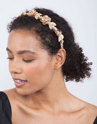 Gold Metal Flower Diamante Headband - link has visual effect only