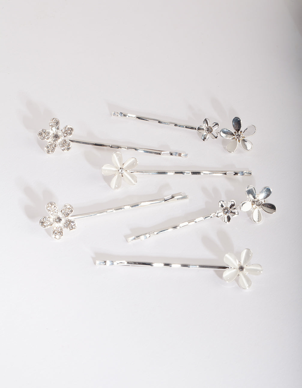 Silver Floral Stone Hair Clip Pack