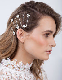 Silver Floral Stone Hair Clip Pack - link has visual effect only