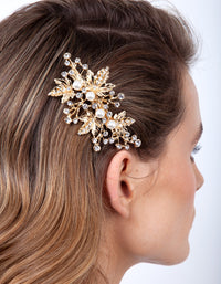 Gold Floral Pearl Hair Barrette
