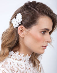 White Mini Fabric Flower Clip Pack - link has visual effect only