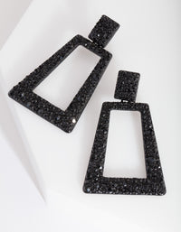 Black Diamante Geometric Earring