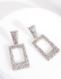 Rhodium Mini Geometric Earring