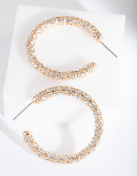 Gold Textured Classic Hoop Earring