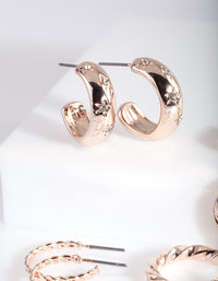 Rose Gold Diamante Hoop Earring Pack - link has visual effect only