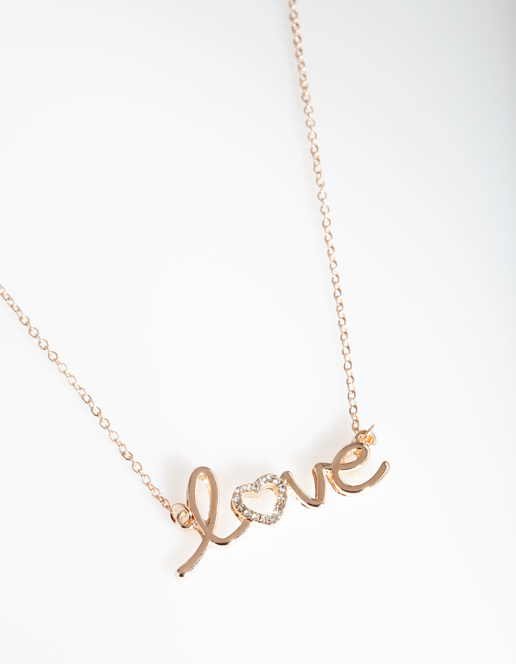 "Rose Gold Diamante ""Love"" Necklace"
