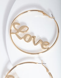 Gold Love Hoop Earring - link has visual effect only