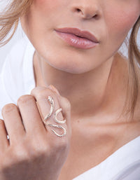 Rose Gold Etched Snake Swirl Ring