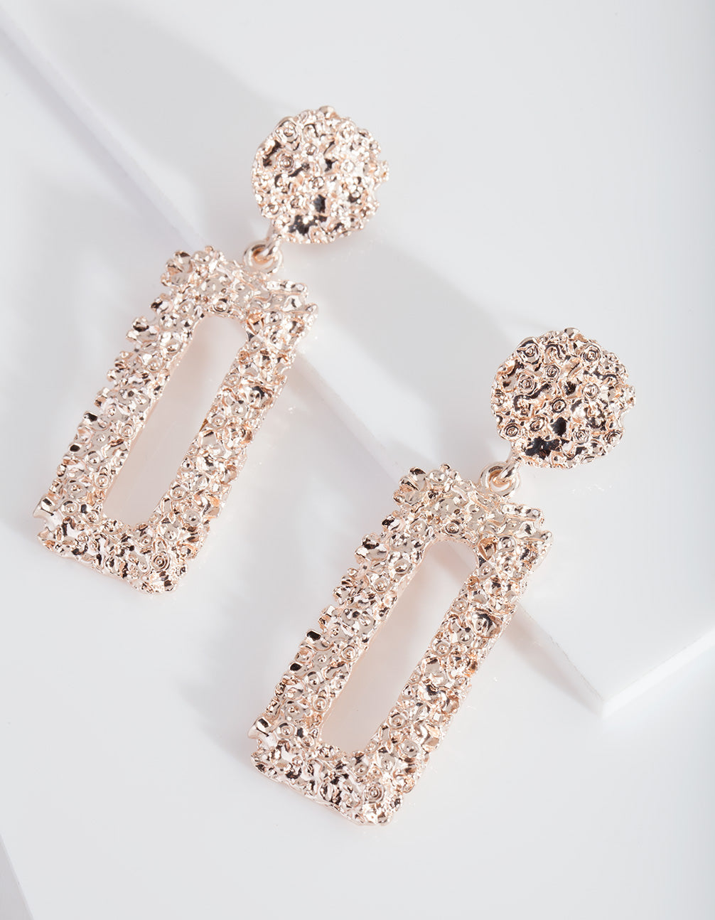 Rose Gold Textured Rectangle Earring