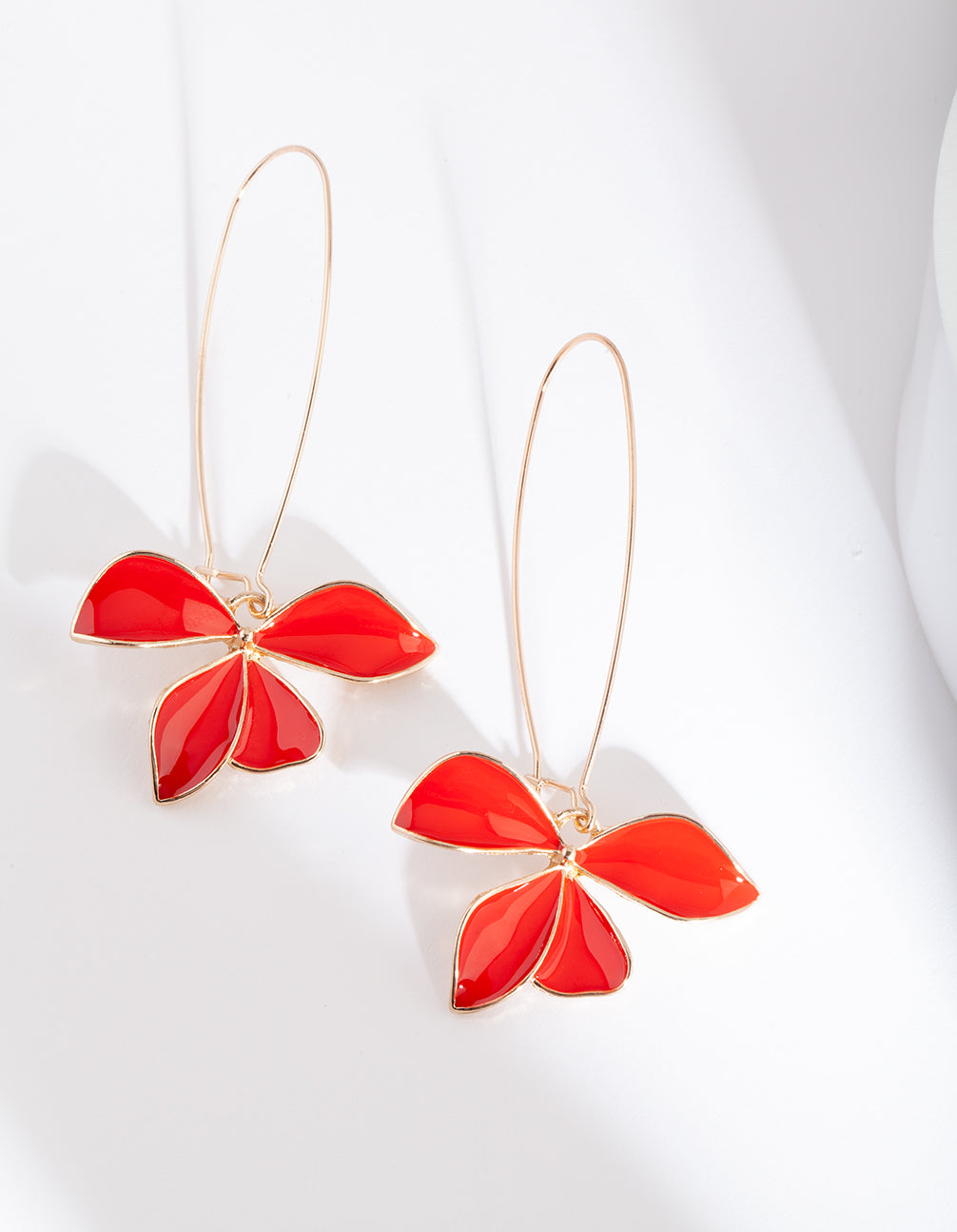 Red Gold Flower Earring