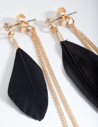 Black and Gold Feather Earring - link has visual effect only