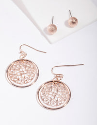 Rose Gold Filigree Disc Earring 2 Pack - link has visual effect only