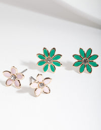 Green Pink Flower Stud 2 Pack - link has visual effect only