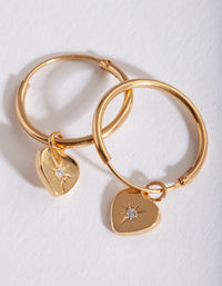 Gold Plated Mini Heart Hoop Earring - link has visual effect only